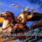 Odin Auf Sleipnir mit Geri und Freki