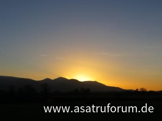 Sonnenuntergang über den Galtee Mountains
