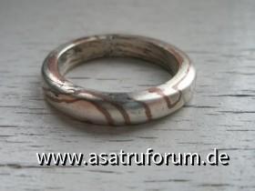 Ring aus Silber - Kupfer - Mokume Gane